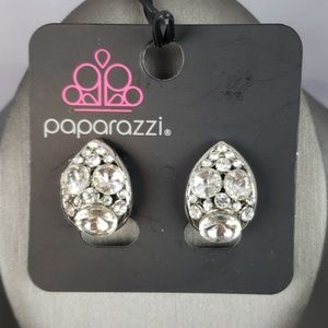 New Earrings CLIP ON Silver with CZs